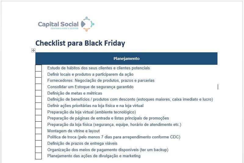 Checklist Ações para Blackfriday