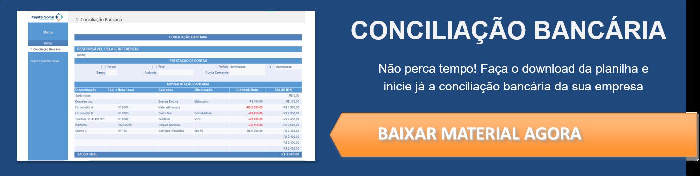 Botão para download de planilha de conciliação bancária
