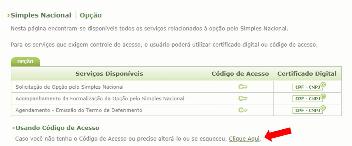 Tela de Serviços do Site Simples Nacional