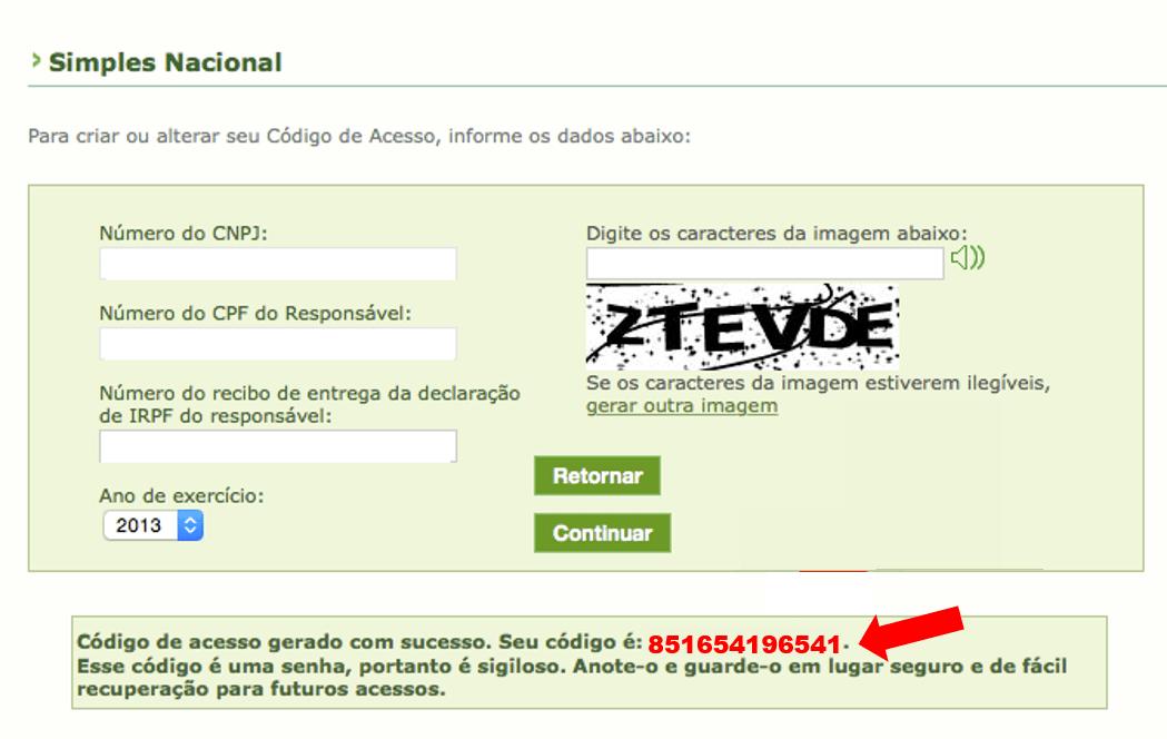 Tela do site do Simples Nacional código de acesso título de eleitor