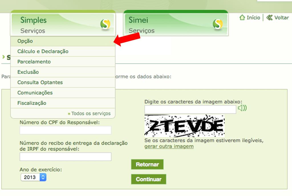 Site Simples Nacional menu opção