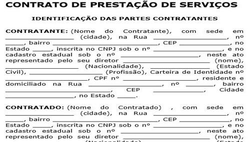 Modelo: Contrato de Prestação de Serviços